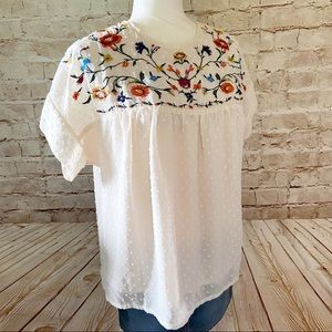 ROOLEE floral embroidered chiffon blouse